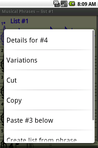 Context menu for list item screenshot