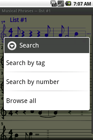 Search menu screenshot